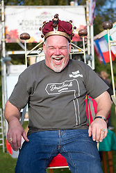 © Licensed to London News Pictures. 11/10/2015. Southwick, UK. Picture shows Steve Presscot the new mens conker world champion. The 2015 Conker World Championships celebrates it's 50th year with competitors from around the world competing to become this years conker king. Photo credit: Andrew McCaren/LNP