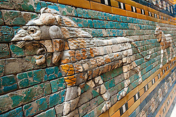 Lion on wall along Processional Way in Babylon exhibit at Pergamon Museum on Museumsinsel in Berlin Germany
