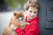 NO FEE PICTURES                                                                                                                                            9/5/19 Shane Carroll, age 11 with Fraggles the Pomeranian at the launch of Ireland's favourite animal friendly event, Pets in the City, which will take place in Dublin's Smithfield Square on Sunday May 19th from 1130am to 430pm. Picture: Arthur Carron