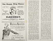 All Ireland Senior Hurling Championship Final,.Brochures,.02.09.1945, 09.02.1945, 2nd September 1945,.Tipperary 5-6, Kilkenny 3-6, .Minor Dublin v Tipperary, .Senior Tipperary v Kilkenny, .Croke Park, ..Advertisements, McDowell's The Happy Ring House, Madame Nora Ltd. Hosiery Specialists,
