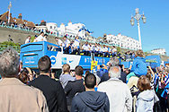 Brighton open top bus ready for departure during the Brighton & Hove Albion Football Club Promotion Parade at Brighton Seafront, Brighton, United Kingdom on 14 May 2017. Photo by Phil Duncan.