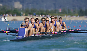 Sydney, AUSTRALIA, GBR m8+ move away from the start pontoon at the 2000 Olympic Regatta, Penrith Lakes. [Photo Peter Spurrier/Intersport Images]  LINDSAY, Andrew, HUNT-DAVIS, Ben, DENNIS, Simon, ATTRILL, Louis, GRUBOR, Luka, WEST, Kieran<br /> SCARLETT, Fred, TRAPMORE Steve and cox DOUGLAS, Rowley 2000 Olympic Rowing Regatta00085138.tif