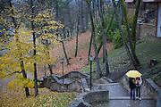 A couple walks in the rain under a yellow umbrella in Cesis, Latvia.
