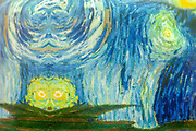 Homage to Starry Starry night and van Gogh in green and aquamarine