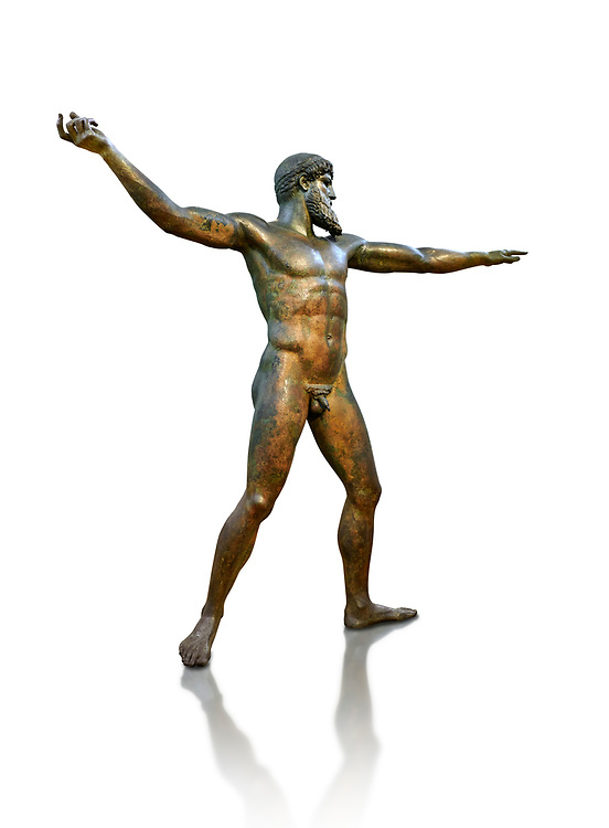 Early classical ancient Greek bronze statue of Zeus or Poseidon, circa 450 BC. Athens National Arcjaeological Museum, cat no X15161, White background<br /> <br /> This bronze statue was found in the sea off Cape Artemision in northern Euobea. Zeus or Poseidon is shown making a great stride. His lefy arm is extended forward and his righy arm extends back which would have held a thunderbolt, if Zeus, or a trident if Poseidon. The identification of the statue is controversial though it ios more likely Zeus. <br /> <br /> It is one of the few preserved original statues of Severe Style, notable for the exuisite rendering of motion and anatomy. Iy is certainly the work of a great sculptor of the early ancient Greek Classical period .<br /> <br /> If you prefer to buy from our ALAMY STOCK LIBRARY page at https://www.alamy.com/portfolio/paul-williams-funkystock/greco-roman-sculptures.html . Type -    Athens    - into LOWER SEARCH WITHIN GALLERY box - Refine search by adding a subject, place, background colour, etc.<br /> <br /> Visit our ROMAN WORLD PHOTO COLLECTIONS for more photos to download or buy as wall art prints https://funkystock.photoshelter.com/gallery-collection/The-Romans-Art-Artefacts-Antiquities-Historic-Sites-Pictures-Images/C0000r2uLJJo9_s0