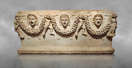 """Picture of Roman relief sculpted Sarcophagus of Garlands, 2nd century AD, Perge. This type of sarcophagus is described as a """"Pamphylia Type Sarcophagus"""". It is known that these sarcophagi garlanded tombs originated in Perge and manufactured in the sculptural workshops of Perge. Antalya Archaeology Museum, Turkey. ..<br /> <br /> If you prefer to buy from our ALAMY STOCK LIBRARY page at https://www.alamy.com/portfolio/paul-williams-funkystock/greco-roman-sculptures.html . Type -    Antalya    - into LOWER SEARCH WITHIN GALLERY box - Refine search by adding a subject, place, background colour, etc.<br /> <br /> Visit our ROMAN WORLD PHOTO COLLECTIONS for more photos to download or buy as wall art prints https://funkystock.photoshelter.com/gallery-collection/The-Romans-Art-Artefacts-Antiquities-Historic-Sites-Pictures-Images/C0000r2uLJJo9_s0"""
