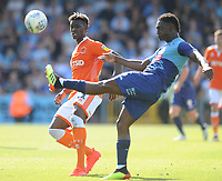 Blackpool's Armand Gnanduillet looks on as Wycombe Wanderers' Anthony Stewart clears the ball<br /> <br /> Photographer Kevin Barnes/CameraSport<br /> <br /> The EFL Sky Bet League One - Wycombe Wanderers v Blackpool - Saturday 4th August 2018 - Adams Park - Wycombe<br /> <br /> World Copyright © 2018 CameraSport. All rights reserved. 43 Linden Ave. Countesthorpe. Leicester. England. LE8 5PG - Tel: +44 (0) 116 277 4147 - admin@camerasport.com - www.camerasport.com