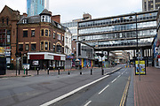 Birmingham city centre is virtually deserted due to the Coronavirus outbreak on 31st March 2020 in Birmingham, England, United Kingdom. Following government advice most people are staying at home leaving the streets quiet, empty and eerie. Coronavirus or Covid-19 is a new respiratory illness that has not previously been seen in humans. While much or Europe has been placed into lockdown, the UK government has announced more stringent rules as part of their long term strategy, and in particular social distancing.