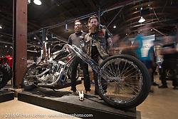 Alan Rundskopf with his Strange Cycles' Drekkar custom 1959 Harley-Davidson XLH on Saturday in the Handbuilt Motorcycle Show. Austin, TX, USA. April 9, 2016.  Photography ©2016 Michael Lichter.