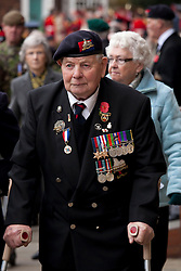 © under licence to London News Pictures 14/11/2010. Walter Hibbard (89) who served in Fourth Lincoln Battalion in the second world war and was at D Day plus Four. Remembrance service at Lincoln Cathedral today (Sun) to pay respects to all who those who lost their lives in current and past conflicts, including the First and Second World Wars.  Photo Credit should read: Dave Warren/ London News Pictures