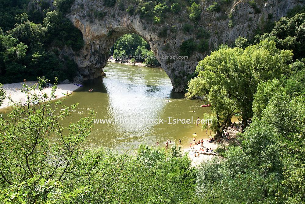 Pont d'arc natural bridge over the Ardeche River gorge, Provence, France