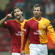 Galatasaray's Lucas NEILL (R) and Lorik CANA (L) during their Turkish Super League soccer match Galatasaray between Bucaspor at the Turk Telekom Arena at Seyrantepe in Istanbul Turkey on Saturday 19 February 2011. Photo by TURKPIX