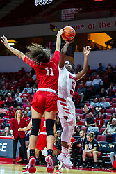 NORMAL, IL - February 07: Lasha Petree rejects a shot by Tete Maggett during a college women's basketball game between the ISU Redbirds and the Braves of Bradley University February 07 2020 at Redbird Arena in Normal, IL. (Photo by Alan Look)