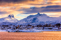 View of Bodo, Norway and surrounding mountains from the harbor. Arctic Northern Norway.