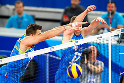 Jan Kozamernik of Slovenia adn Tine Urnaut of Slovenia during volleyball match between Slovenia and Chile in Group A of FIVB Volleyball Challenger Cup Men, on July 3, 2019 in Arena Stozice, Ljubljana, Slovenia. Photo by Matic Klansek Velej / Sportida