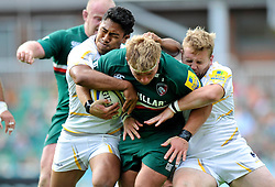 Leicester Tigers hooker Tom Youngs goes on the charge - Photo mandatory by-line: Patrick Khachfe/JMP - Tel: Mobile: 07966 386802 - 08/09/2013 - SPORT - RUGBY UNION - Welford Road Stadium - Leicester Tigers v Worcester Warriors - Aviva Premiership.