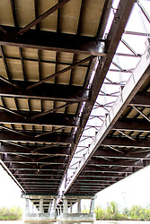 A shot of the Page Avenue Bridge From Below on the St. Charles side of the river.
