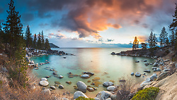 """""""Secret Cove Sunset 2"""" - Stitched panoramic sunset photograph of Secret Cove on the east shore of Lake Tahoe, Nevada."""