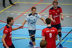 Finn Frielink of Taurus, Mats Bleeker of Taurus, Jens de Hoogh of Taurus in action during the league match Taurus - Amysoft Lycurgus on January 16, 2021 in Houten.