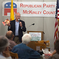 Congressman Steve Pearce speaks with the Republican Party of McKinley County at Sammy C's Monday in Gallup.