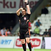 Referee Firay Aydinus during their Turkish Super League soccer match Torku Konyaspor between Galatasaray at the Konya Buyuksehir Belediyesi Torku Arena at Selcuklu in Konya Turkey on Saturday, 29 August 2015. Photo by TVPN/TURKPIX