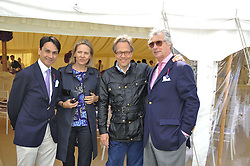 Left to right, FRANCOIS LE TROQUER, CARLA BAMBERGER, The EARL OF MARCH and ARNAUD BAMBERGER at a luncheon hosted by Cartier for their sponsorship of the Style et Luxe part of the Goodwood Festival of Speed at Goodwood House, West Sussex on 1st July 2012.