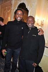 Left to right, DEREK ELROY and MENSAH BEDIAKO at an after show party following the cast change from 'One Man, Two Guvnors' held at the Theatre Royal Haymarket, London on 12th February 2013.