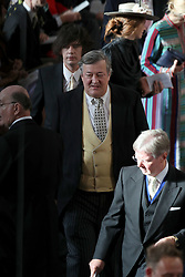 Stephen Fry arrives for the wedding of Princess Eugenie to Jack Brooksbank at St George's Chapel in Windsor Castle.