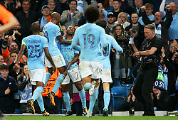 Raheem Sterling of Manchester City celebrates after scoring his sides second goal  - Mandatory by-line: Matt McNulty/JMP - 26/09/2017 - FOOTBALL - Etihad Stadium - Manchester, England - Manchester City v Shakhtar Donetsk - UEFA Champions League Group stage - Group F