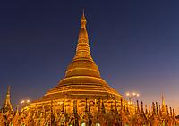 the golden stupa of the Shwedagon Pagoda Yangon (Rangoon) in Myanmar (Burma)