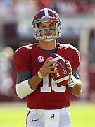 TUSCALOOSA, AL - NOVEMBER 10:  Quarterback AJ McCarron #10 of the Alabama Crimson Tide warms up before the game against the Texas A&M Aggies at Bryant-Denny Stadium on November 10, 2012 in Tuscaloosa, Alabama.  (Photo by Mike Zarrilli/Getty Images)