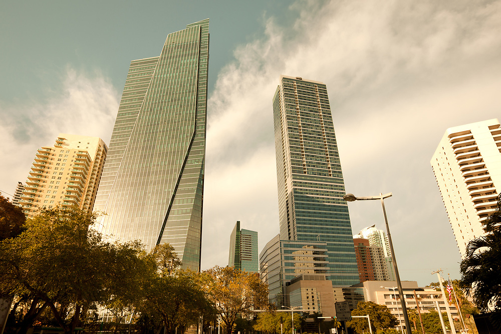 Skyline of skyscrapers at Brickell Avenue in downtown Miami, Florida, United States