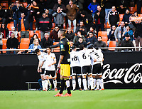 Valencia's players celebrating the goal   during Spanish King's Cup match. January 6, 2016. (ALTERPHOTOS/Javier Comos)