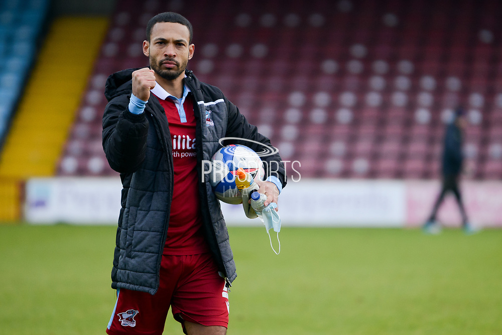 Scunthorpe United Jordan Clarke (2) half body portrait during the EFL Sky Bet League 2 match between Scunthorpe United and Grimsby Town FC at the Sands Venue Stadium, Scunthorpe, England on 23 January 2021.