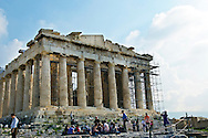 The ancient Greek temple of The Parthenon at the Acropolis in Athens, Greece.