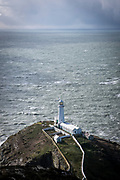 The South Stack Lighthouse, a fog warning lighthouse on an island off the coast of Holyhead Breakwater Country Park on the coast of Holyhead, Anglesey, North Wales, United Kingdom.20th February 2020. The country park opened in 1990 and is on the site of an old stone quarry.  (photo by Andrew Aitchison / In pictures via Getty Images)