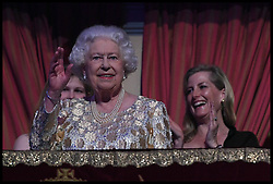 Queen Elizabeth II at the Royal Albert Hall in London for a star-studded concert to celebrate her 92nd birthday.