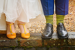 Bumble Bee Wedding Shoes and Socks at the Barns at Hunsbury Hill