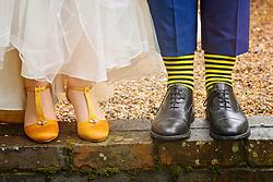 Bumble Bee Wedding Shoes and Socks at the Barns at Hunsbury Hill