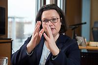 15 MAR 2018, BERLIN/GERMANY:<br /> Andrea Nahles, SPD Fraktionsvorsitzende, waehrend einem Interview, in ihrem Buero, Jakob-Kaiser-Haus, Deutscher Bundestag<br /> IMAGE: 20180315-01-001<br /> KEYWORDS: Büro