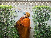 26 DECEMBER 2013 - BANGKOK, THAILAND: A Buddhist monk takes shelter behind a block wall during an anti-government riot in Bangkok. Thousands of anti-government protestors flooded into the area around the Thai Japan Stadium to try to prevent the drawing of ballot list numbers by the Election Commission, which determines the order in which candidates appear on the ballot of the Feb. 2 election. They were unable to break into the stadium and ballot list draw went as scheduled. The protestors then started throwing rocks and small explosives at police who responded with tear gas and rubber bullets. At least 20 people were hospitalized in the melee and one policeman was reportedly shot by anti-government protestors.      PHOTO BY JACK KURTZ