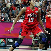 05 August 2012: USA Candace Parker is seen on defense during 114-66 Team USA victory over Team China, during the women's basketball preliminary, at the Basketball Arena, in London, Great Britain.