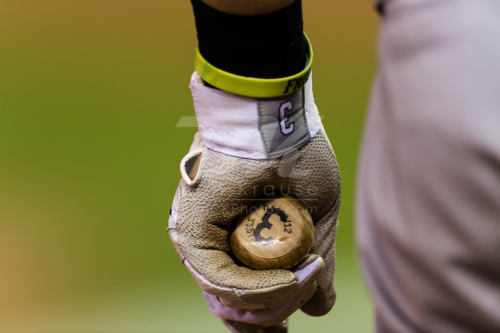 A close up view of the batting gloves of Evan Longoria (3) of the Tampa Bay Rays as he waits on-deck during a game against the Minnesota Twins on August 10, 2012 at Target Field in Minneapolis, Minnesota.  The Rays defeated the Twins 12 to 6.  Photo: Ben Krause