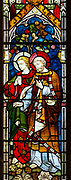 Church of Saint Peter, Baylham, Suffolk, England, UK - east window stained glass c 1871 by Clayton and Bell, saints John and Peter
