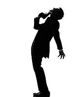 silhouette caucasian business man   despair suicide behavior full length on studio isolated white background