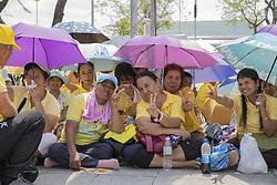 People wait for the procession on land to see the King, Coronation of the king of Thailand,Thaïlande, Rama X, His Majesty King Maha Vajiralongkorn Bodindradebayavarangkun, Bangkok, Thailand, on May 05, 2019. Photo by Loic Baratoux/ABACAPRESS.COM
