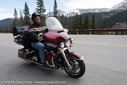 Des Moines HOG Chapter member Bob Mitchell of Madrid, IA  on his 2016 Ultra Limited  riding from Steamboat Springs back to Denver after the Rocky Mountain Regional HOG Rally, Colorado, USA. Sunday June 11, 2017. Photography ©2017 Michael Lichter.