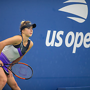 2019 US Open Tennis Tournament- Day Three. Elina Svitolina of the Ukraine stretches as she wait for Venus Williams of the United States to return from a toilet break to stat the second set during the Women's Singles Round Two match on Louis Armstrong Stadium at the 2019 US Open Tennis Tournament at the USTA Billie Jean King National Tennis Center on August 27th, 2019 in Flushing, Queens, New York City.  (Photo by Tim Clayton/Corbis via Getty Images)