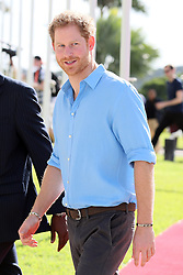 Prince Harry arrives at a youth sports festival at the Sir Vivian Richards Stadium in North Sound, Antigua, on the second day of his tour of the Caribbean.