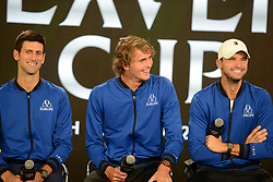 September 20, 2018 - Chicago, Illinois, United States - NOVAK DJOKOVIC and ALEXANDER ZVEREV speak with the media prior to the start of the 2018 Laver Cup tennis event in Chicago. (Credit Image: © Christopher Levy/ZUMA Wire)